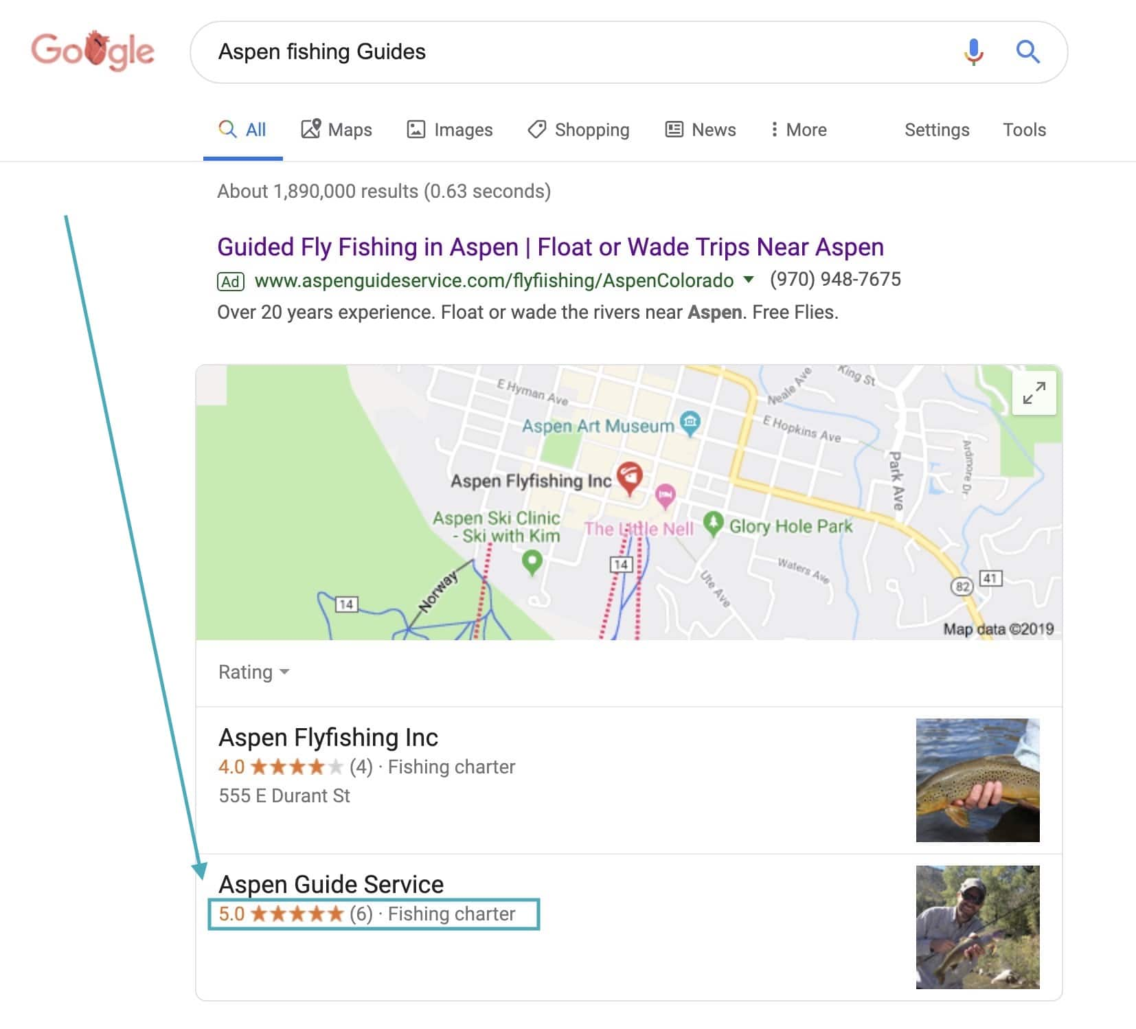 Google Review in Local Pack