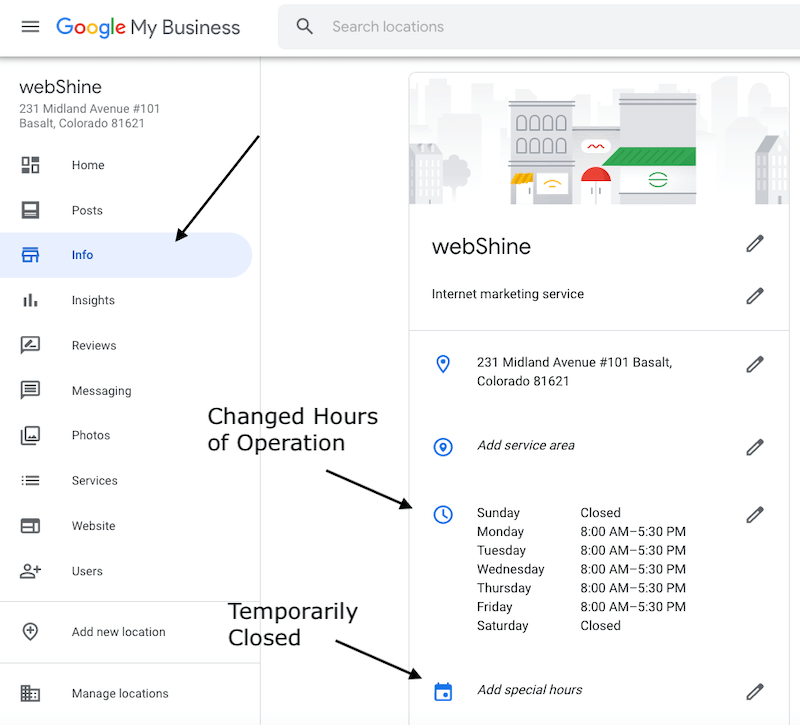 google my business update hours
