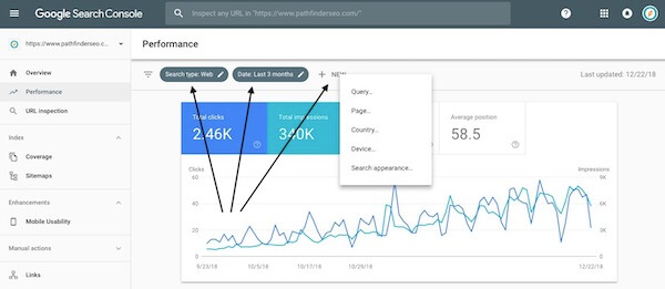 google search console performance filters