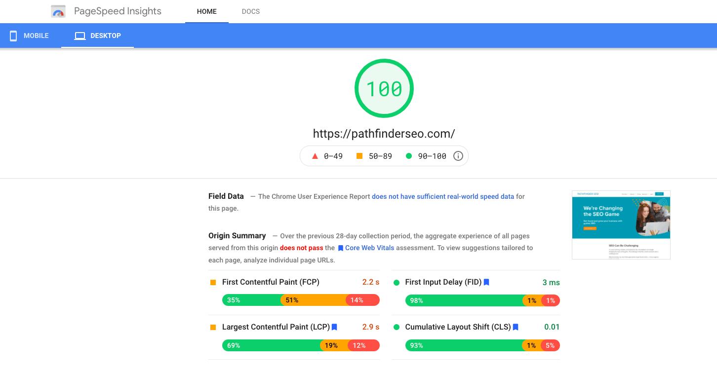 fast WordPress site 100