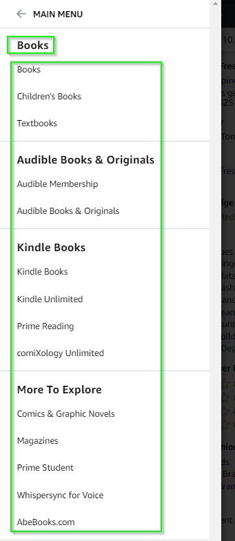 amazon books subcategories