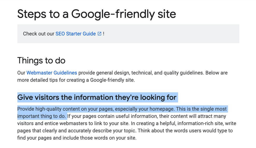 Google on what makes a friendly site.