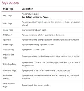 Schema Page Options
